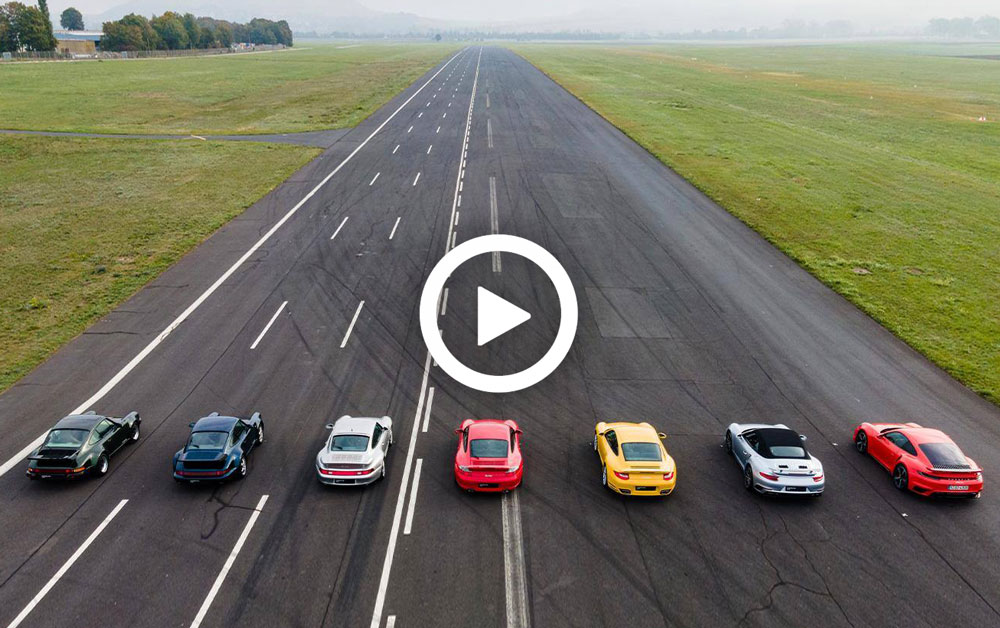 Video – Dragrace met alle generaties 911 Turbo